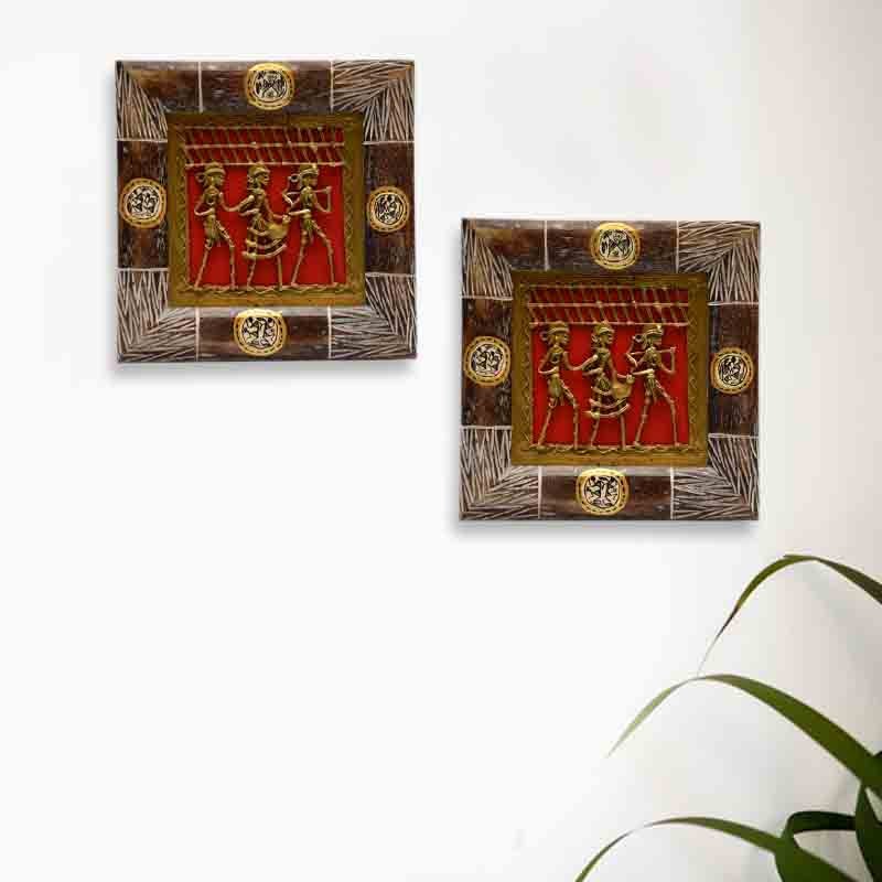 Moorni Dhokra Work and Warli Hanpainted Wall Decor in Sheesham Set