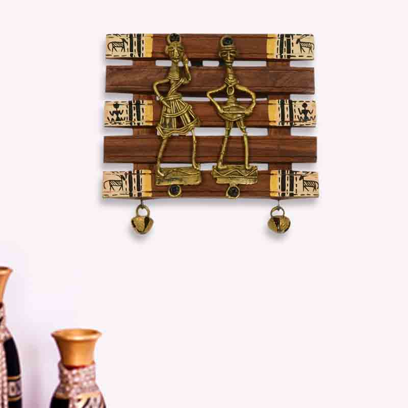 Moorni Dhokra and Warli Handpainted Wall Hanging Brown