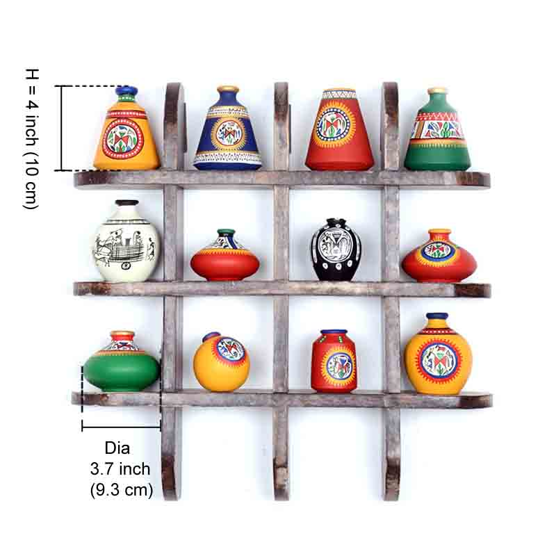 Moorni 12 Terracotta Warli Handpainted Pots with Antique Wooden Frame Wall Hanging