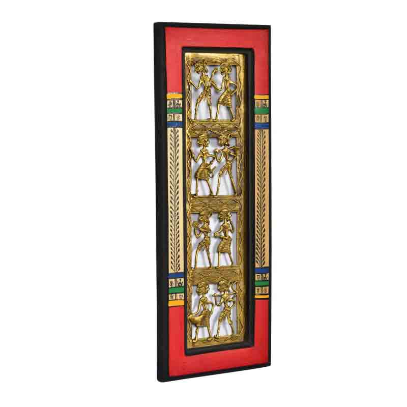 Moorni Dhokra Work and Warli Handpainted Vertical Wall Decor