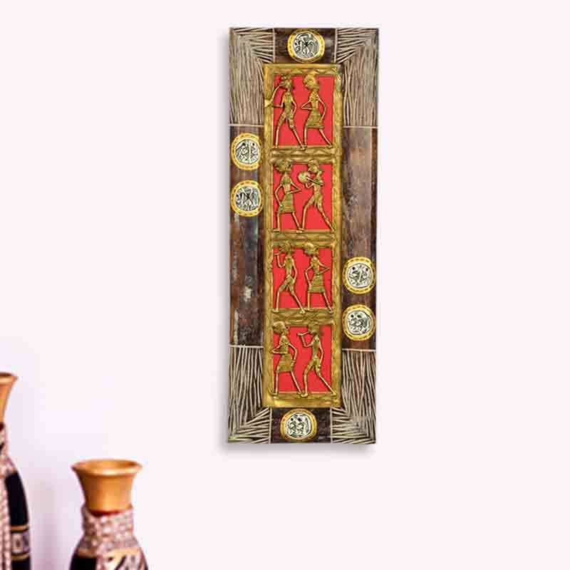 Moorni Dhokra Work and Warli Handpainted Vertical Wall Decor in Sheesham