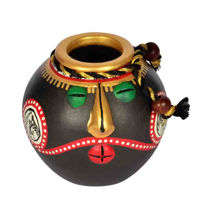 Moorni Terracotta Warli Handpainted Face Pots with Wooden Shelf Wall Decor