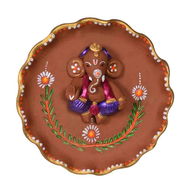 Moorni Terracotta Handpainted Round Plate Ganesha Wall Decor