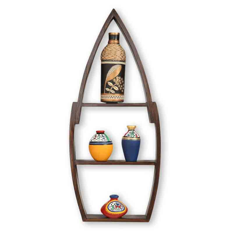 Moorni Wooden Wall Shelves with Handpainted Terracotta Vase and Pots