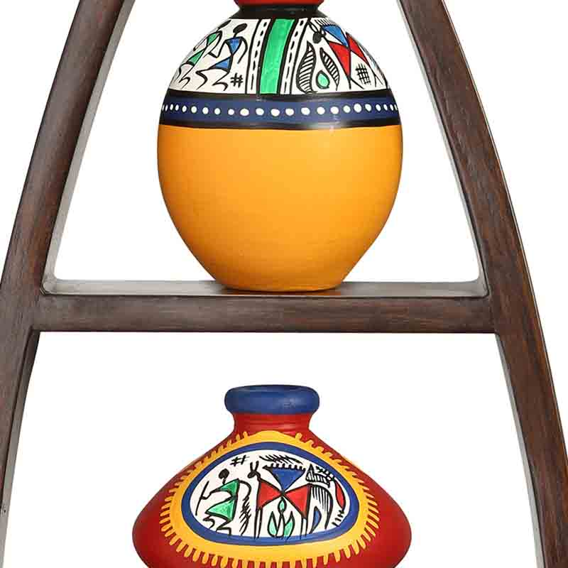 Moorni Wooden Wall Shelves with Handpainted Terracotta Pots