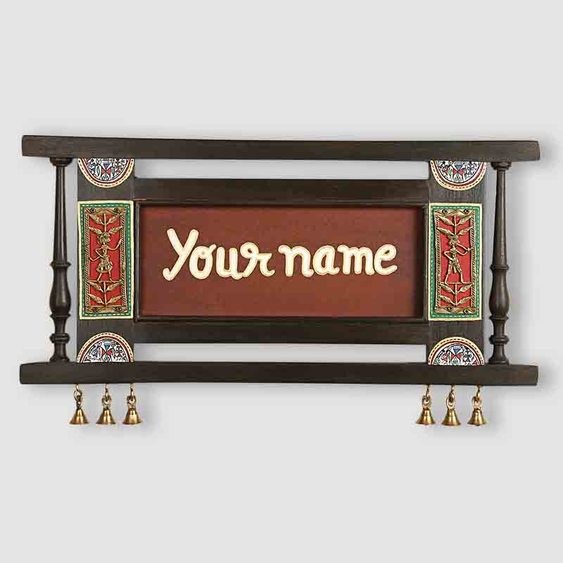 Moorni Dhokra and Warli Name Plate with Handwritten Fonts - EL-002-061
