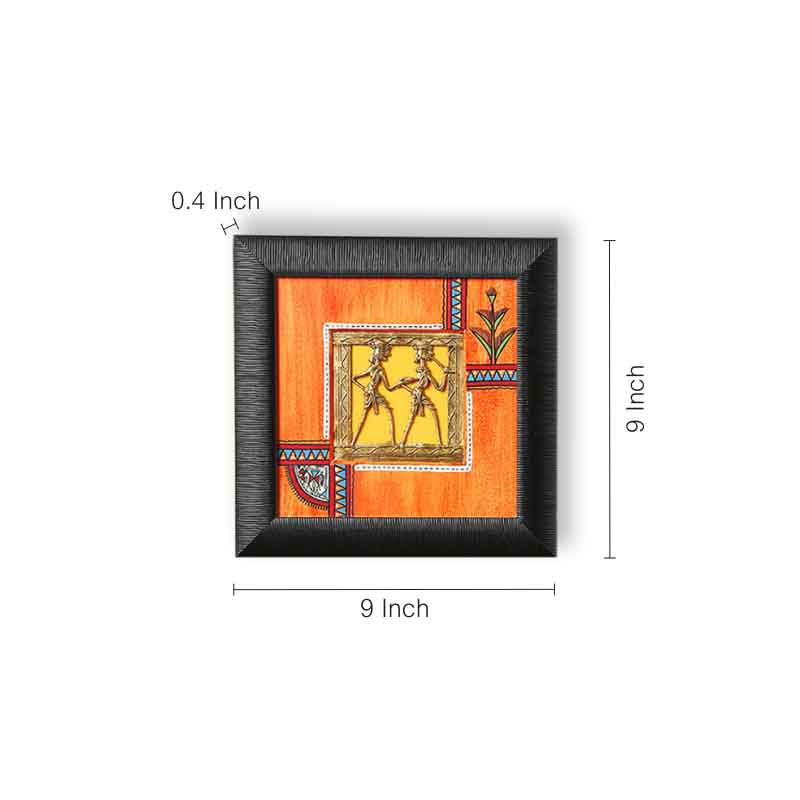 Sunset Orange & Ocean Blue Handpainted Warli & Dhokra Square Wall Painting Set