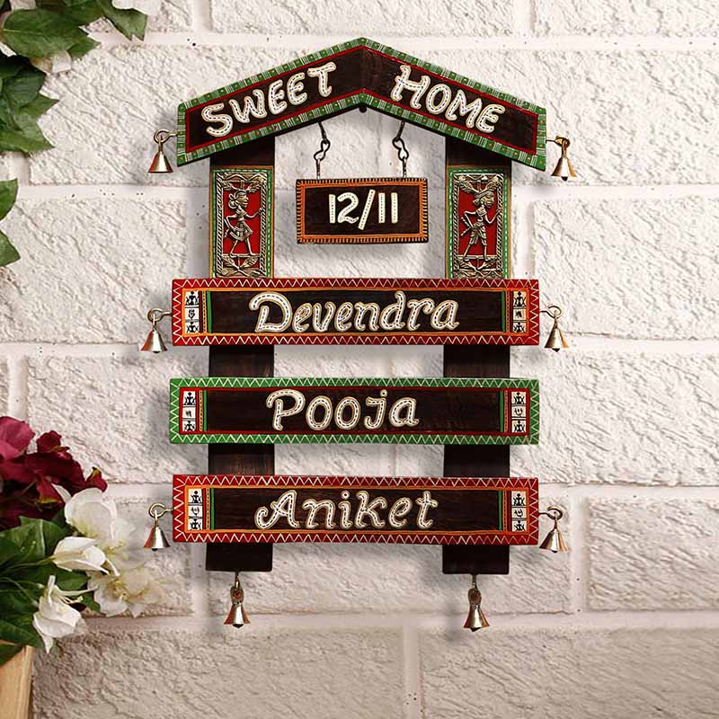 Moorni Home Of The Heart Customisable Warli & Dhokra Wooden Name Plate EL-002-084