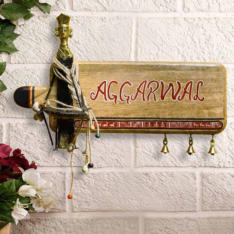 Moorni Brass-Man Customisable Warli & Dhokra Wooden Name Plate