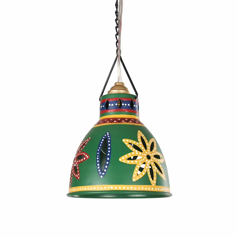 Moorni Dome Shaped Metal Pendant Cum Hanging Lamp In Bottle Green