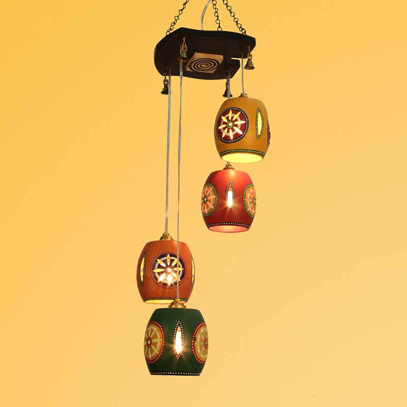 Moorni Barrel Shaped Chandelier With Metal Hanging Shades (4 Shades)