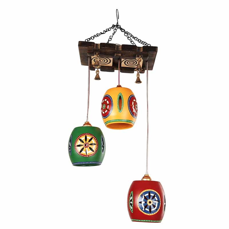 Moorni Barrel Shaped Chandelier With Metal Hanging Shades (3 Shades)