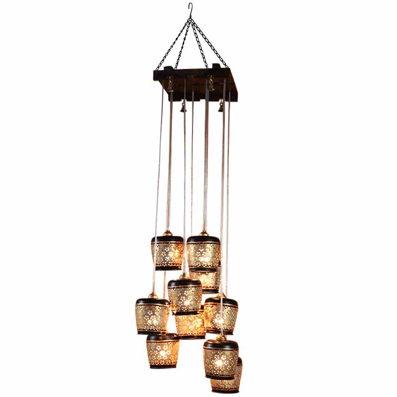 Moorni Barrel Shaped Chandelier With Metal Hanging Shades In Gleaming Golden (10 Shades)