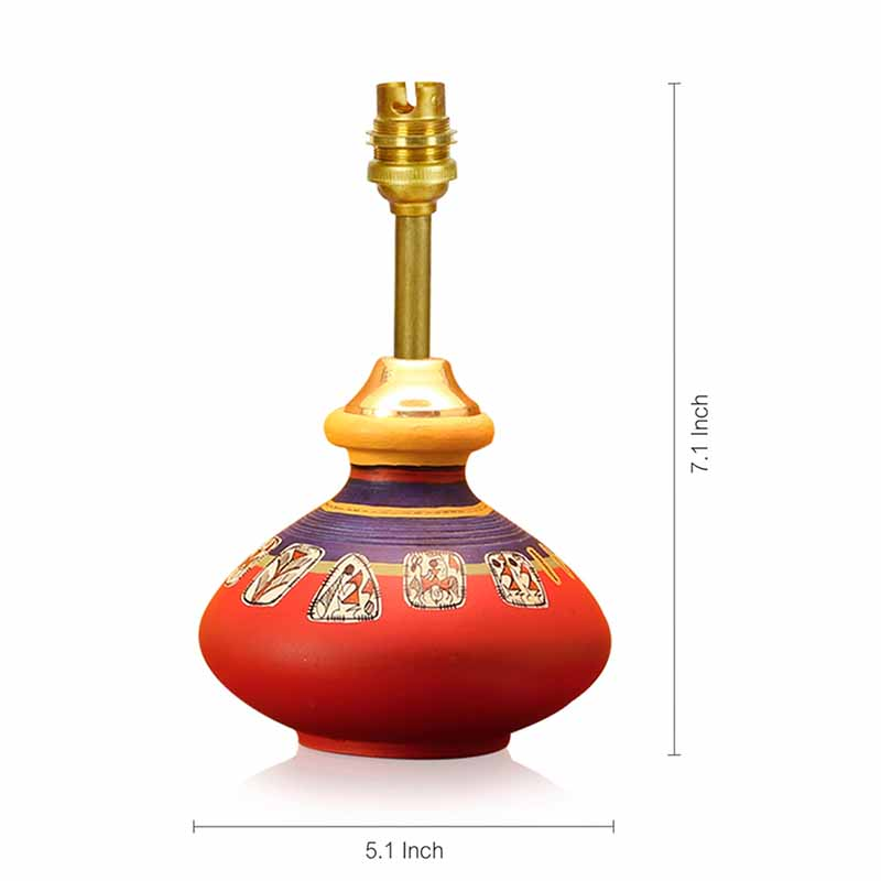 Moorni Warli In Light Hand-Painted Pot Shaped Round Table Lamp In Terracotta - EL-003-146