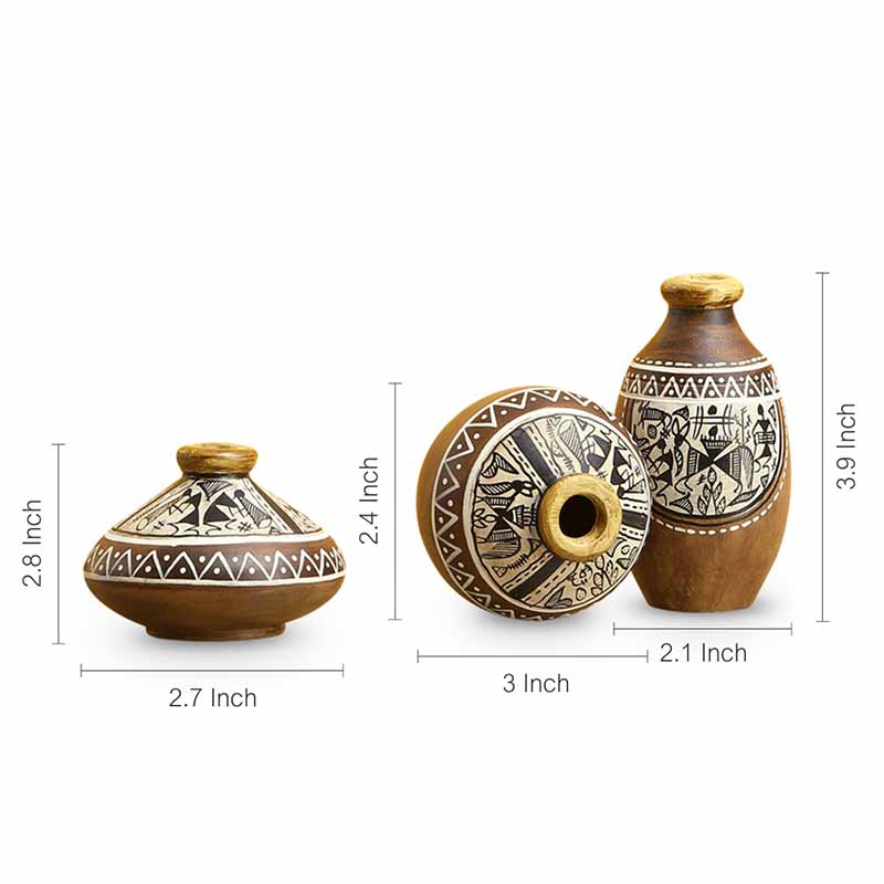 Moorni Three Little Terracotta Pots With Warli Hand-Painting In Natural Mud Brown (Set Of 3)