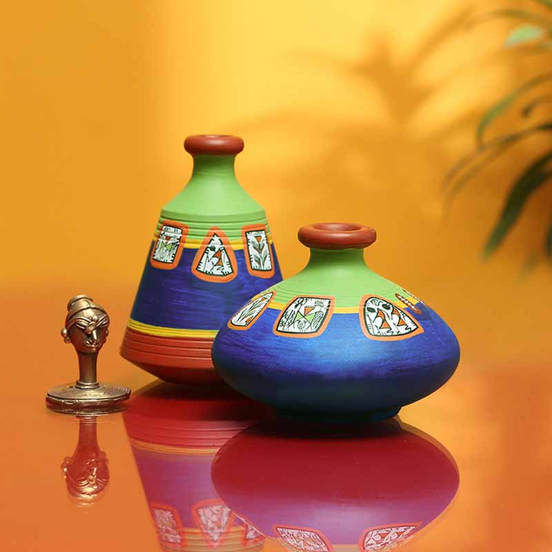 Moorni Two Mini-Frame Terracotta Pots With Warli Hand-Painting (Set Of 2)