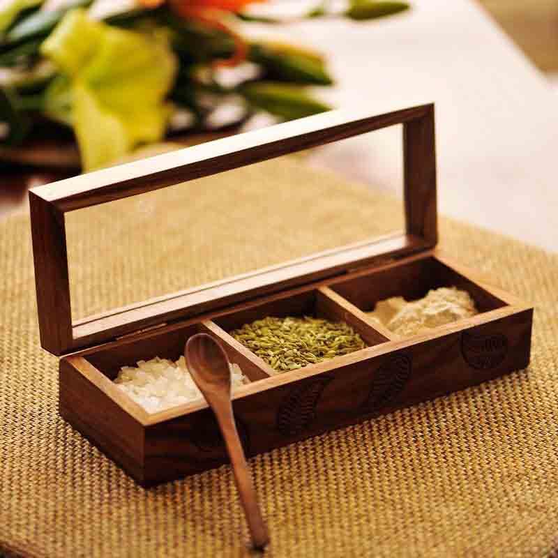 Moorni Sheesham Wooden Engraved Multi-Utility Serveware with Spoon