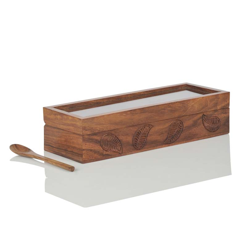 Moorni Sheesham Wooden Engraved Multi-Utility Serveware with Spoon