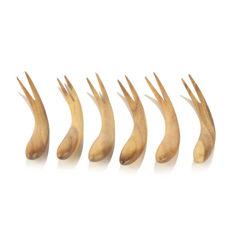 Moorni Curved Wooden Fork Set Of 6 in Natural Brown