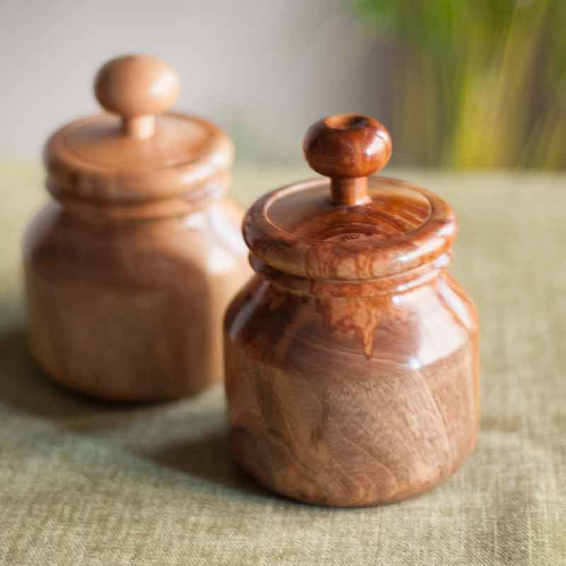Moorni Wooden Jars Set Of 2 in Natural Brown