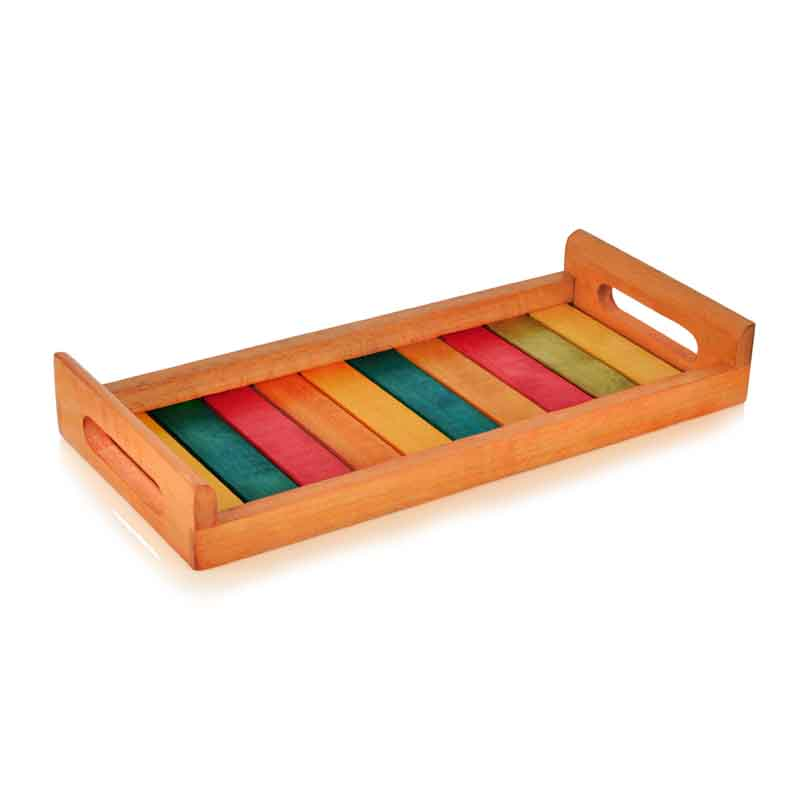 Moorni  Multicoloured Wooden Tray Orange