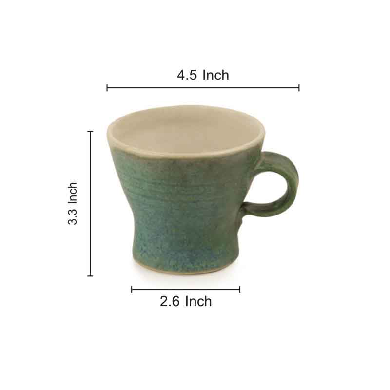 Moorni Handcrafted Studio Pottery Ceramic Cup Set in Green