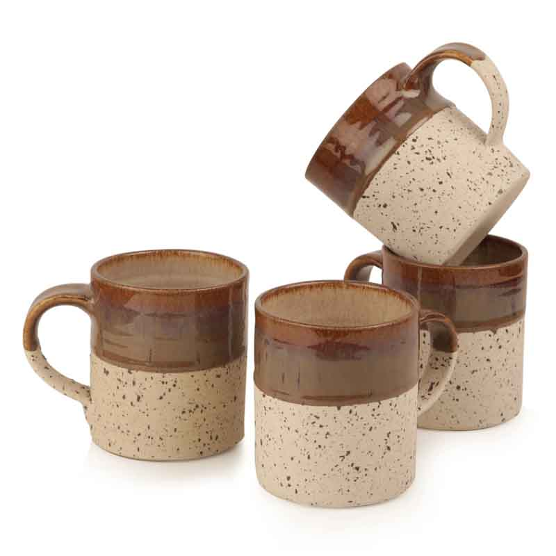 Moorni Handcrafted Studio Pottery Ceramic Mug Set in Brown & Off White
