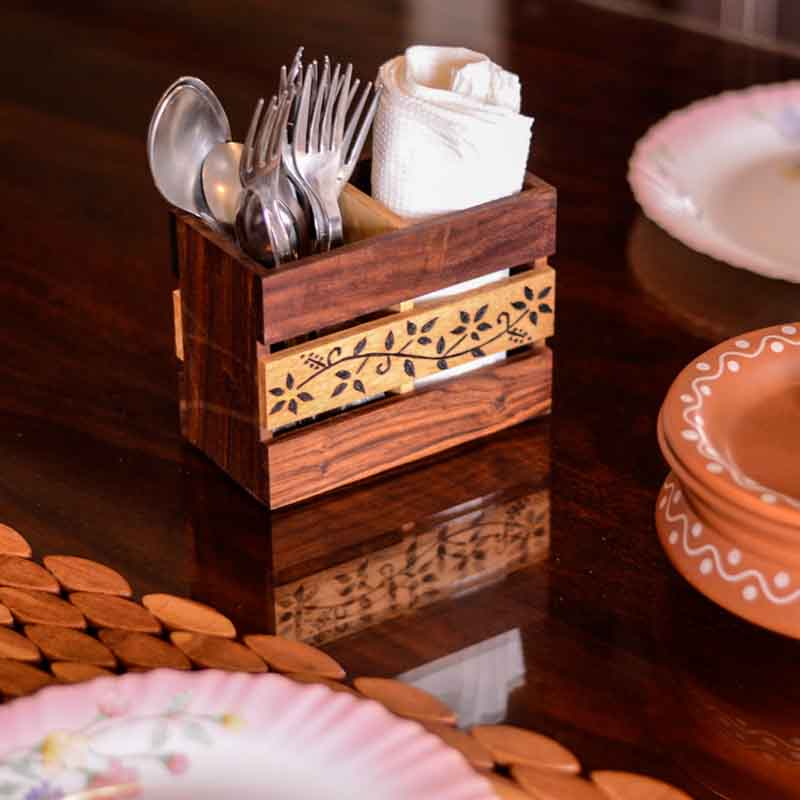 Moorni Floral Work Cutlery Cum Stationery Holder