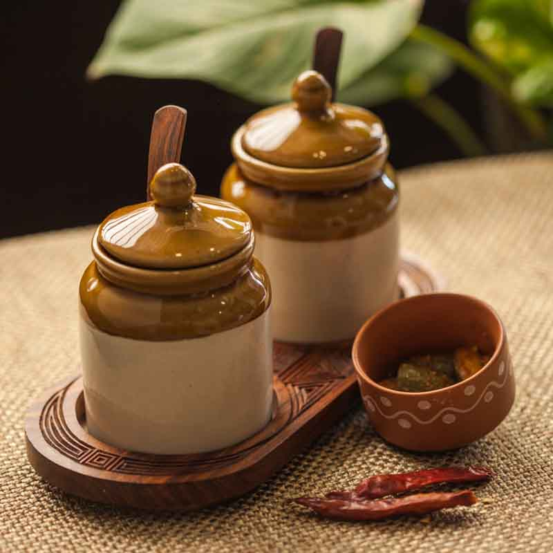Moorni Old Fashioned Ceramic Jars with Hand Carved Tray