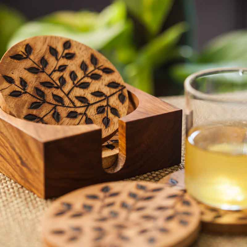 Moorni Floral Work Coasters Set Of 4 with Stand in Sheesham Wood