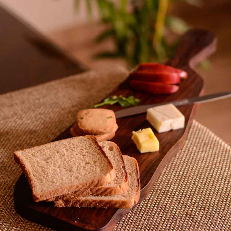 Moorni Cheese & Bread Board Sliced From Wooden Log