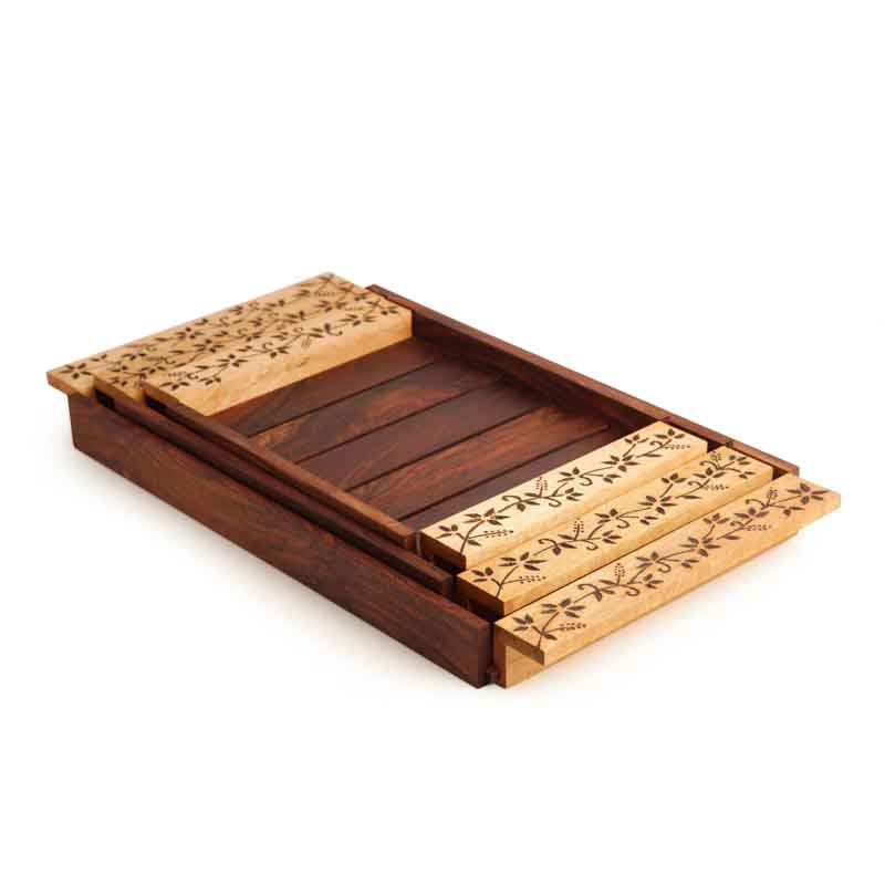 Moorni Elegant Nesting Tray Set in Sheesham Wood with Floral Design
