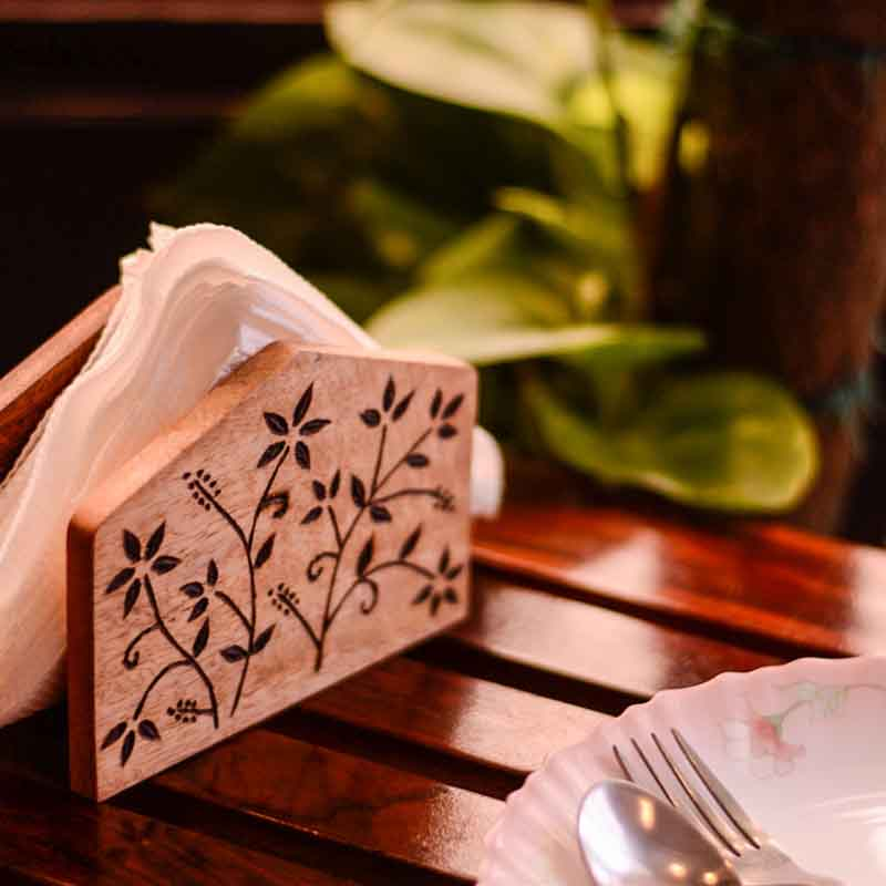 Moorni Wooden Napkin Holder with Floral Leaf Design