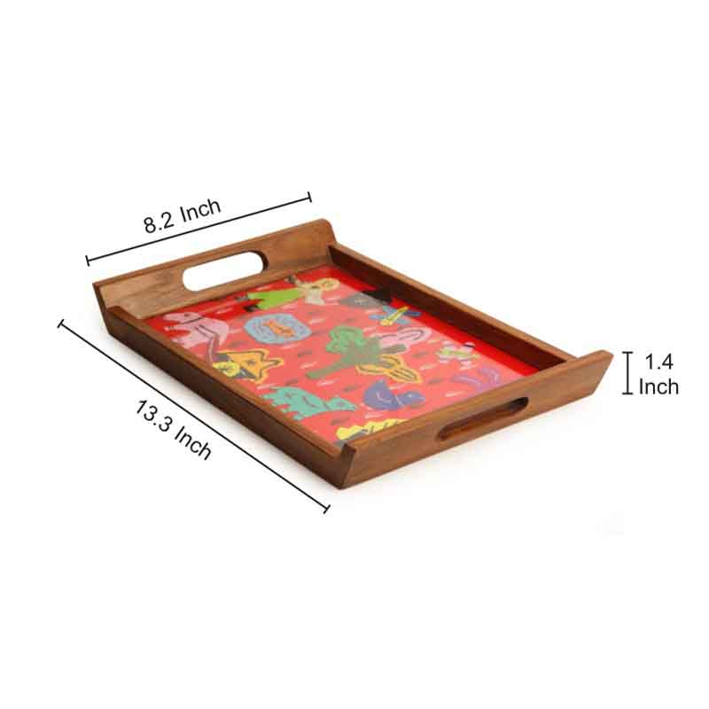 Moorni Applique Handwork Tray in Teak Wood - EL-005-203