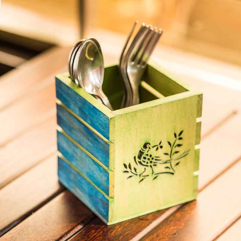 Moorni Bird Collection Wooden Cutlery Cum Stationary Holder