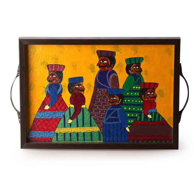 Moorni Rajasthani Puppet Art Work Hand Painted Canvas Tray