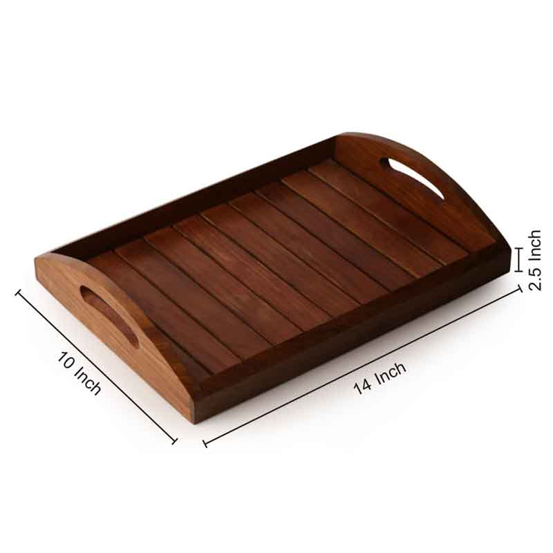 Moorni Handcrafted Sheesham Wooden Tray in Brown