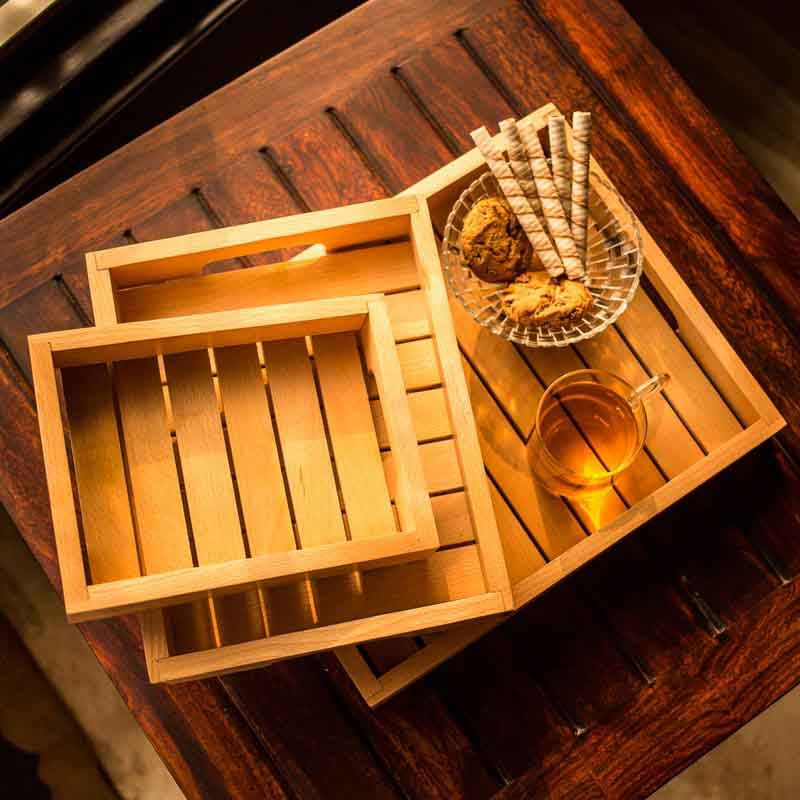 Moorni Handcrafted Wood Serving Tray - Set of 3