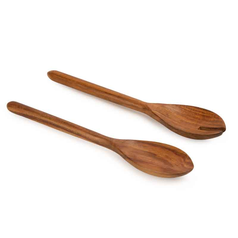 Moorni Wooden Salad Serving Set in Brown