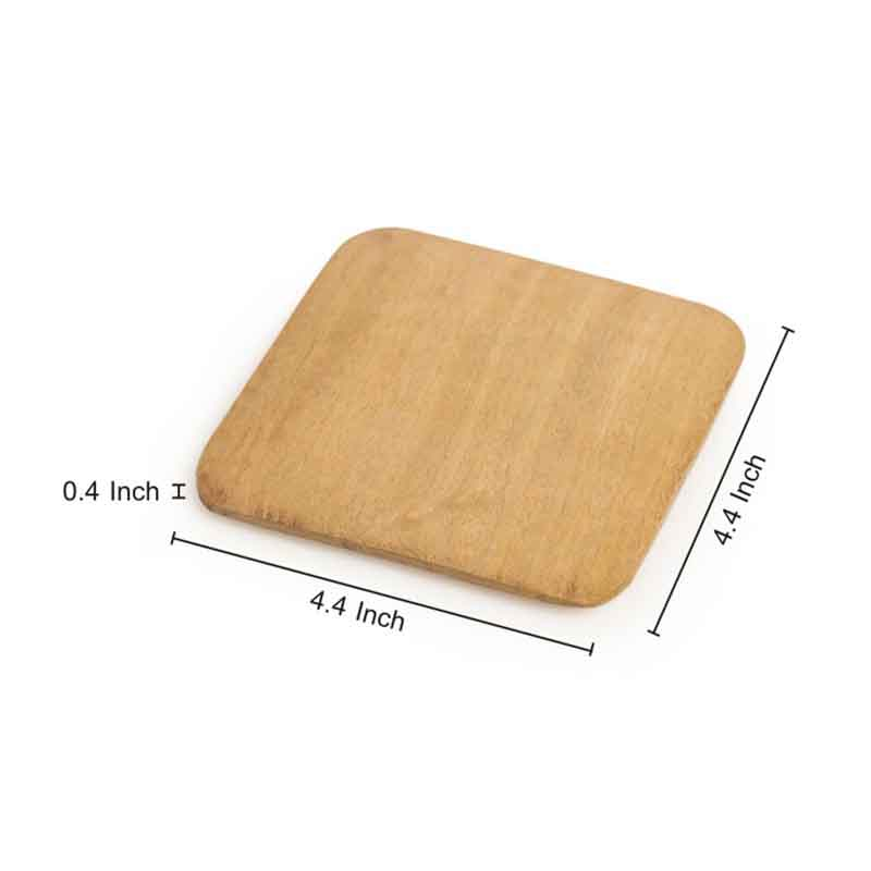 Moorni Wooden Square Tappered Coasters Set Of 4