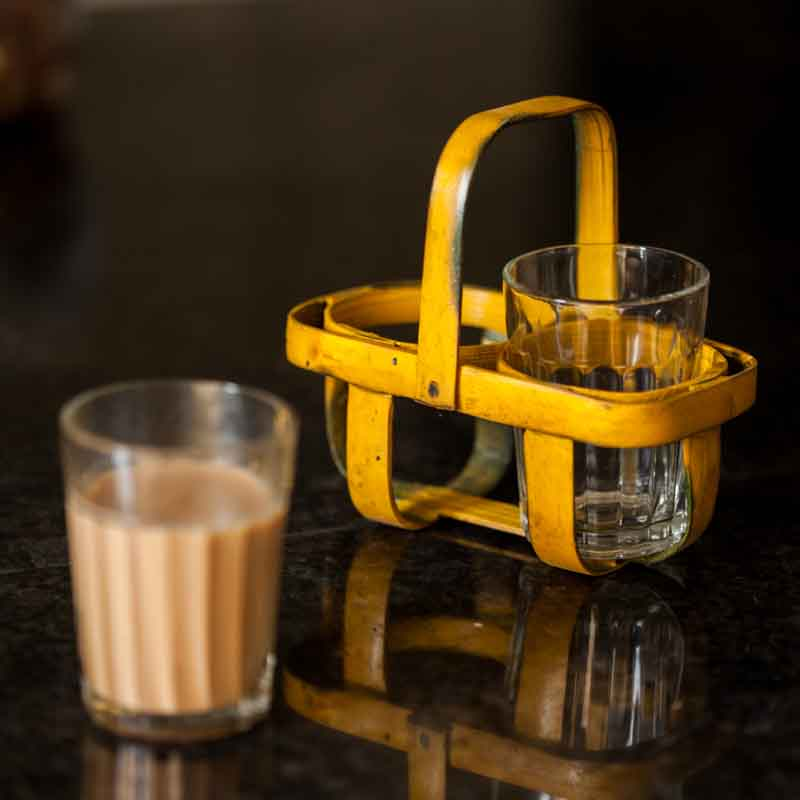 Moorni 2 Tea Glasses with Bamboo Holder in Yellow