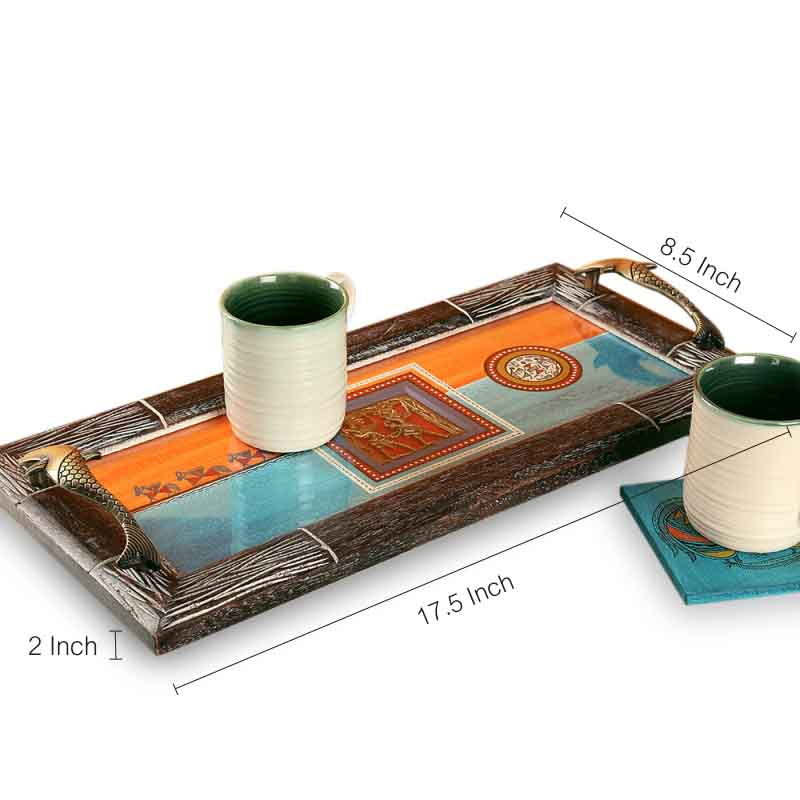 Sunset Orange & Ocean Blue Handpainted Warli  Dhokra Wooden Tray EL-005-280
