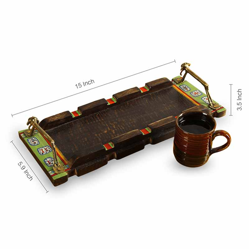 Moorni Flat Fusions Warli Hand-Painted Wooden Tray With Dhokra Animal Figurine Handles