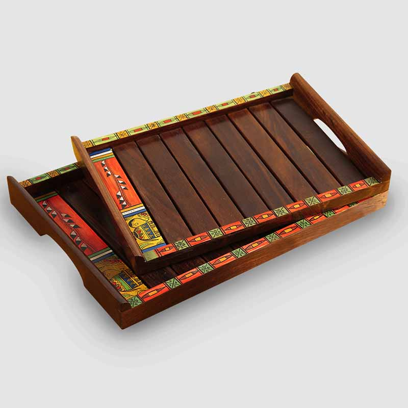 Moorni Paints & Planks Madhubani Hand-Painted Nested Trays In Sheesham Wood (Set Of 2)