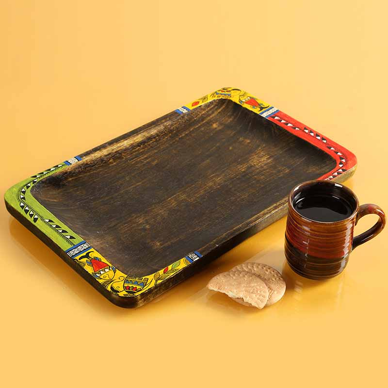 Moorni Madhubani Hand-Painted Rectangular Treasure Tray In Wood - EL-005-322