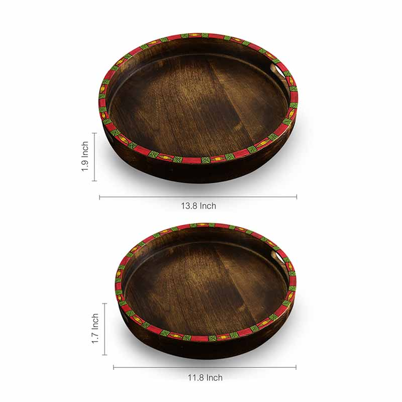Moorni Wonder-In Circles Madhubani Hand-Painted Nested Wooden Trays (Set Of 2) - EL-005-323