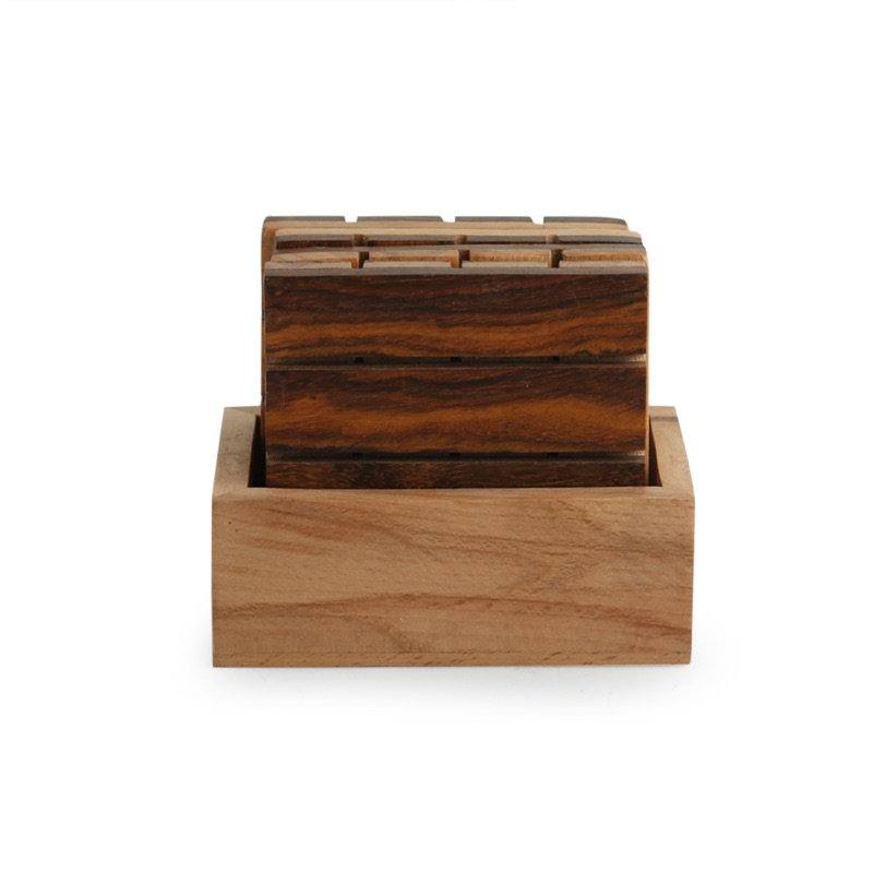 Moorni Squares of Wood Handcrafted Wooden Coasters With Stand (Set Of 4)