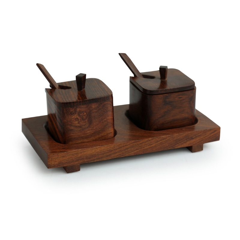 Moorni Wood  Serving Squares Handcrafted Wooden Refreshment Jars With Spoon And Tray