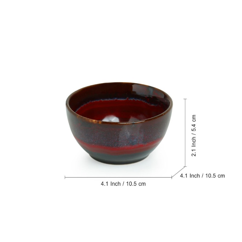 Moorni Crimson Shields Hand Glazed Studio Pottery Ceramic Dining Bowls Set (4 Inch, Set Of 6)
