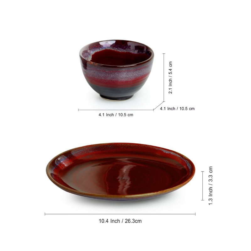 Moorni Crimson Platter Pack Hand Glazed Stuidio Pottery Ceramic Dining Plate With Serving Bowls Set